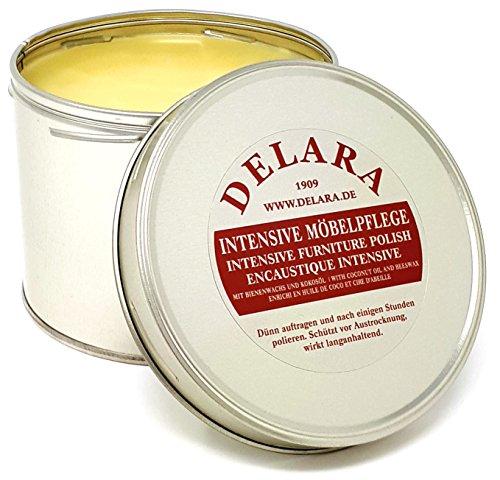 DELARA Intensive Möbelpflege, sehr hochwertiges Möbelwachs mit Bienenwachs und Kokosöl, 500 ml, farblos – Made in Germany