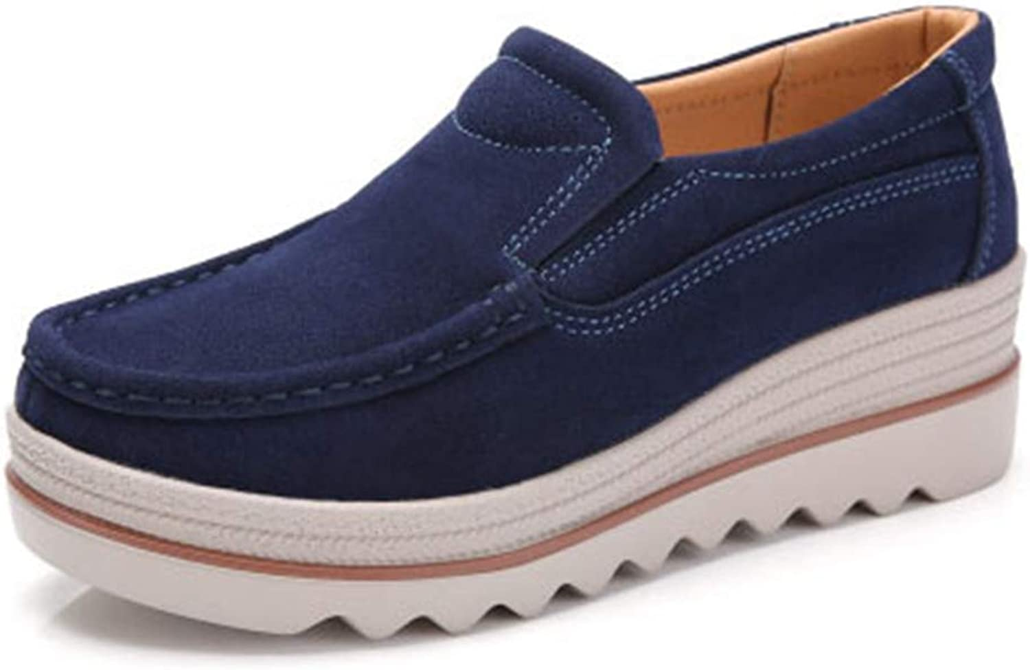 GIY Women's Suede Platform Slip-On Oxford shoes Comfortable Chunky High Heel Casual Work Oxfords Loafers