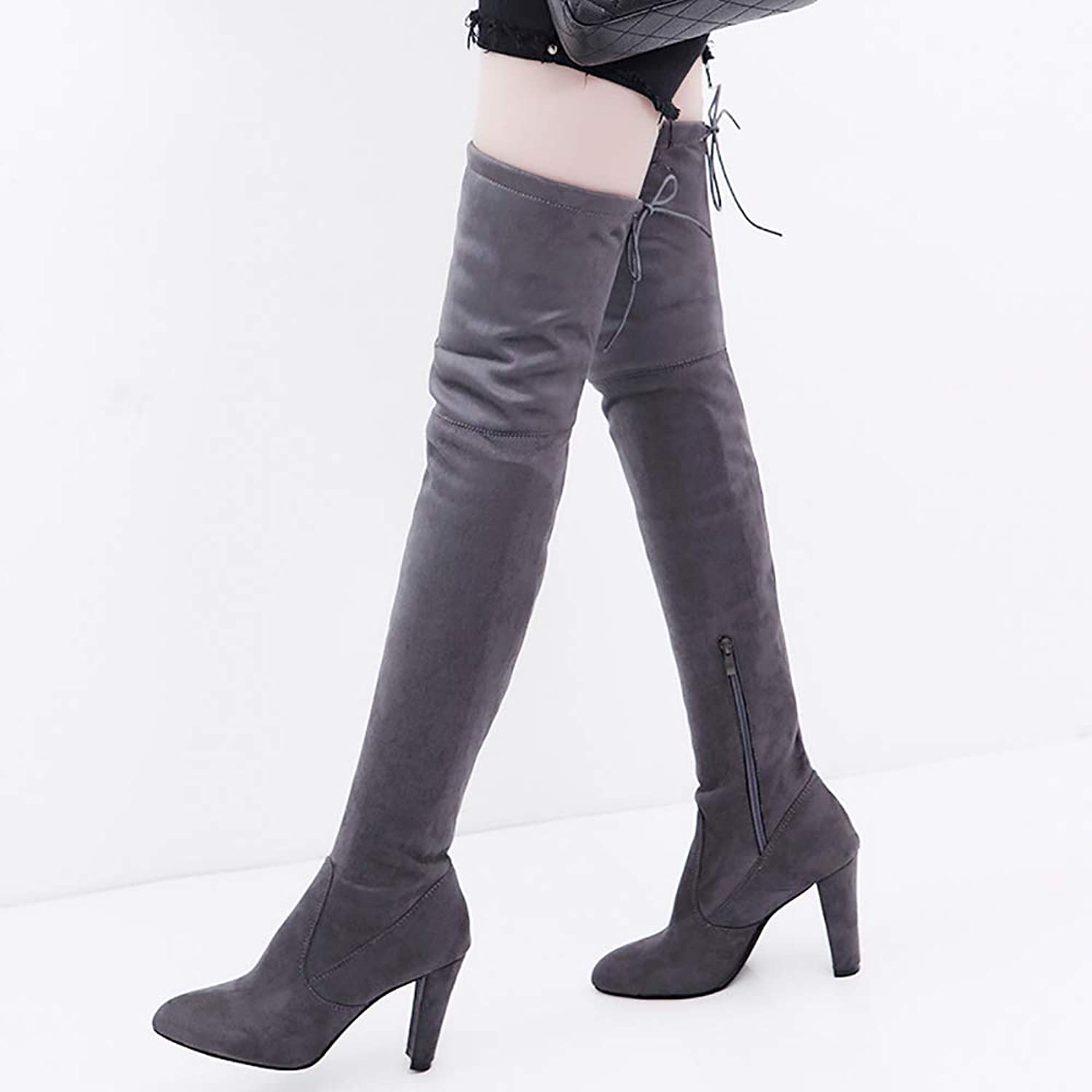 Ladies Warm Velvet Over Knee Boots, Pointy Thick and Female Boots, Suede Skinny Legs Boots, High Heel Thin Boots,43