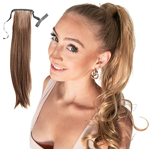 Madison Braids Womens Bree Long Drawstring Ponytail Extension Handmade Synthetic Hair Extensions Pony Tail - Ashy Light Brown