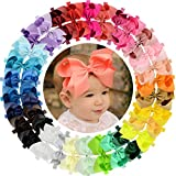 WillingTee Baby Girls Headbands 30 Colors Big 6 Inch Boutique Grosgrain Ribbon Hair Bows Big Baby...