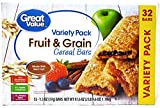 Great Value Fruit & Grain Bars, Variety Pack, 41.6 oz, 32 Count (Pack of 1)