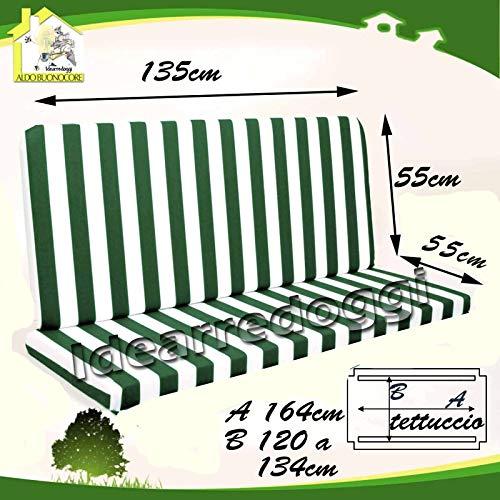 Cuscino per dondolo lastra 135 Cm 3 Posti Bianco/Verde oppure Bianco/Blu
