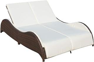vidaXL Tumbona Doble de Jardín Hamaca para 2 Personas Sofás de Patio Asientos de Piscina Poli Ratán Sintético Marrón Material Tipo Mimbre