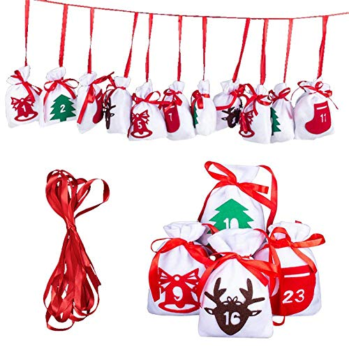 Bolsa de calendario de cuenta regresiva de Navidad 2020 Bolsa de regalo de caramelo con corona de terciopelo duradera Calendario de Adviento de Navidad