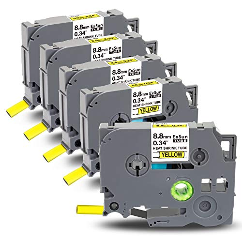 Exsun 5x Compatible Cinta Reemplazo para Brother Tubo Termorretráctil Heat Shrink Tube HSc-621 8.8mm x 1.5m para Brother PT-P750W PT-E110 PT-E300 PT-D600 PT-E550W PT-H300 PT-D450, Negro sobre Amarillo