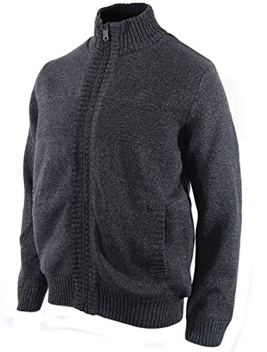 Boston Traders Men's Cable Knit Sherpa-Lined Full Zip Sweater (Large, Charcoal)
