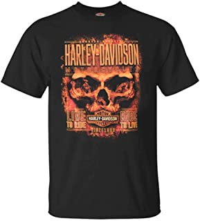 Men's Hardcore Flaming Skull Short Sleeve Crew T-Shirt, Black