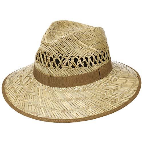 Lipodo Big Brim Traveller Strohhut Damen/Herren - Hut aus 100% Stroh - Made in Italy - Sonnenhut in S, M, L, XL - Sommerhut mit breiter Krempe - Naturfarben Natur L (58-59 cm)