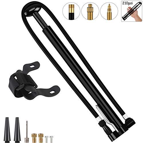 KEMIMI Fahrradpumpe für alle Ventile inkl. Ventilaufsätze - Fahrrad Luftpumpe klein praktisch Rahmenpumpe.Passend für luftpumpe Fahrrad alle ventile