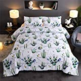 A Nice Night Exotic Plant Cactus Bedding Quilt Set Cactus Marble Pattern Printed Ultra Soft Comforter Set (Marble-Cactus)