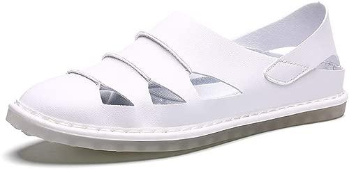 BAIJJ Herren Sommer Sandalen, Strand Sandalen Perforierte Slip on Style Mikrofaser Leder Starke Antislip Durable Outsoles Atmungsaktive Schuhe (Farbe  Weiß, Größe  10,5 UK)