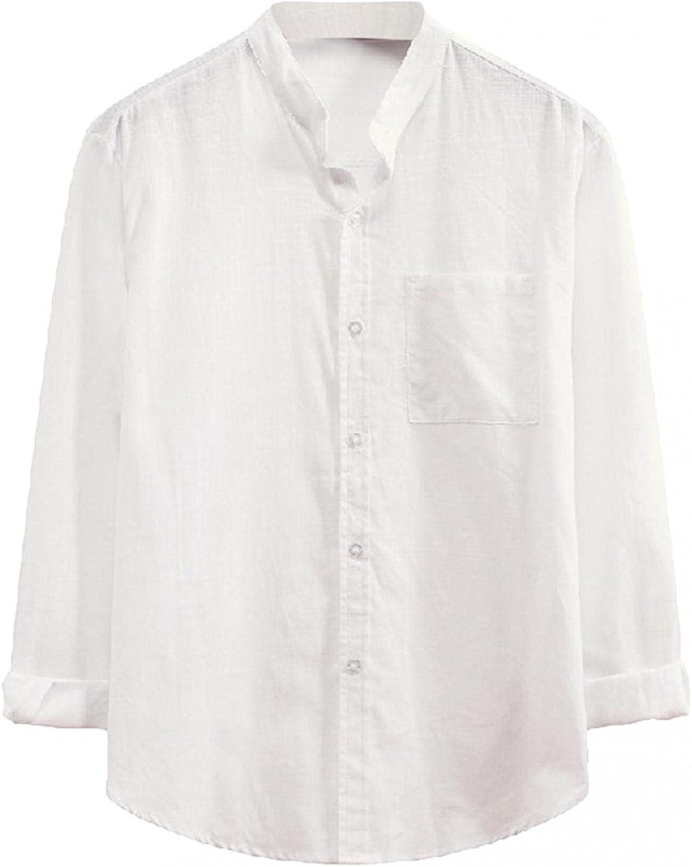 KEEYO Mens Long Sleeve Linen Shirts Casual Button Down Loose Fit Beach Summer Lightweight Plain Work Flannel Shirts Tops