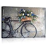 Quadri L&C ITALIA Bici Vintage Retro - Quadro Shabby Chic per Soggiorno Moderno Camera da Letto Cucina Salotto Bagno Stampa su Tela da Parete 70 x 50