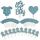 TAJIAA 48 Pcs Cupcake Toppers Baby Jumpsuits Cupcake Picks for Baby Shower Party Decorations (It's A Boy)