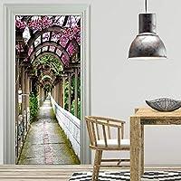 3Dドアステッカー 廊下ドアステッカー壁紙リフォームキャビネット家具家の装飾壁壁画デカール