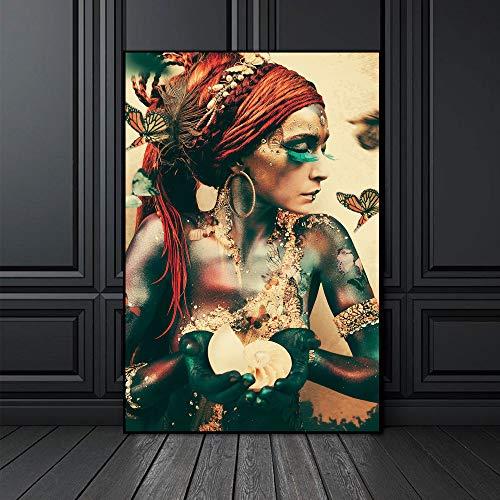 Arte de la pared Pintura de la lona Retrato de la mujer Mariposa Carteles nórdicos Imagen de la vendimia Living Home Room Decor 30X40cm