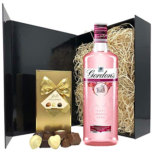 Pink Gin Gift Set - 70cl Gordons Pink Gin Gifts for Gin Lovers - Pink Gin Gift Sets for Women - Pink Gin and Chocolates Hamper for Birthday, Christmas, Valentines Day