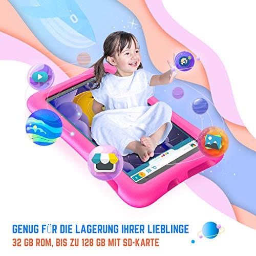 Vankyo S8 Kinder Tablet 8 Zoll, 2GB RAM, 32GB ROM, Kidoz Vorinstalliert, 1080p Full HD-Display, WiFi Android Tablet Kinder mit 5MP Kamera, Kindersicher, Tablet für Kinder mit kindgerechter Hülle, pink
