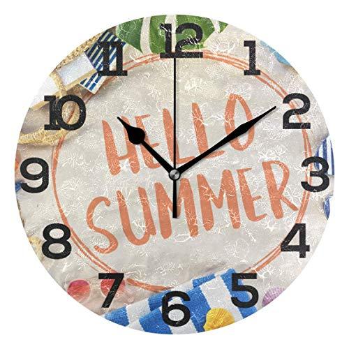 sam-shop Hola Summer Beach Starfish Shell Reloj de Pared de Arena Silencioso No tictac Hogar Decorativo Oficina Reloj Redondo Arte