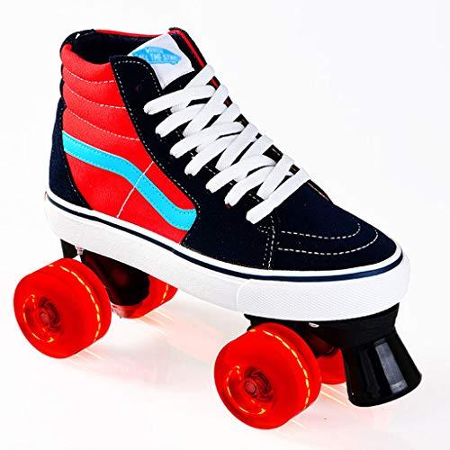 SummarLee Zweireihige Schlittschuhe für Männer und Frauen, Atmungsaktive 4-Rad-Schlittschuhe für Erwachsene mit blinkendem LED-Rad, Anfänger-Mode-Rollschuhe,Rot,39