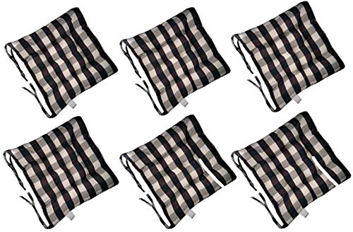 WHCQ Chair Cushions with Ties, Set of 6 Seat Pads for Dining Chair 16 x 16 in Plaid Seat and Chair Cushions with Polyester Cover and Fiber Filling for Kitchen,Living Room, Garden, Terrace, Pat.