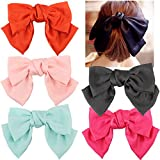 5 Pcs Large Big Huge 8' Soft Silky Chiffon Hair Bow Clip Lolita Party Oversize Handmade Girl French Barrette Style Hair Clips