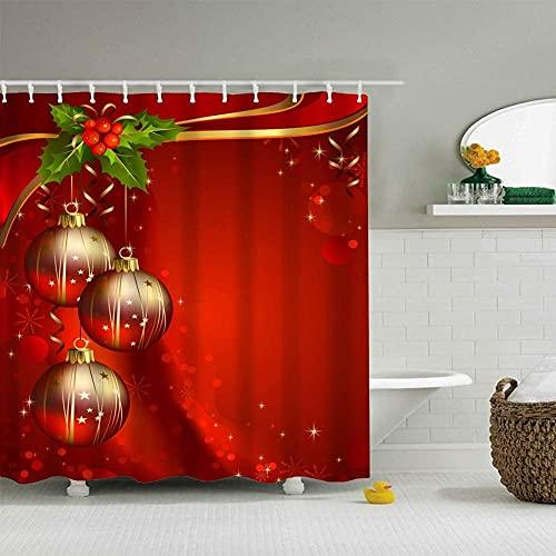 lovedomi Feliz Navidad Cinta de fondo rojo Bokeh bola de luz dorada Celebrar feliz año nuevo patrón 3D impresión cortina de ducha impermeable poliéster 12 ganchos