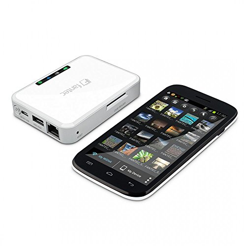 FANTEC MWiD25-DS Mobile WLAN Docking Station (RJ45 und USB 2.0 Host Anschluss, SD Karten Slot, interner Akku, mobiler Akku, Kopierfunktion, Multi-Plattform für Android, iOS, Windows, Mac OS, Linux)