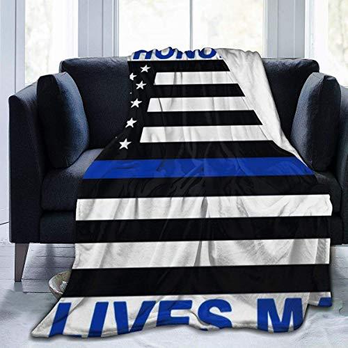 AEMAPE Manta de Microfibra, Manta de Felpa Suave para niños, niñas, Mantas para Cama, sofá, sillón, Bandera de policía Retro de Blue Lives Matter, 50 x 40 Pulgadas