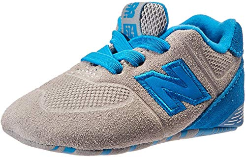 New Balance Boys' KL574V1 Paint Chip Pack Sneaker, Grey/Blue, 3 M US Little Kid