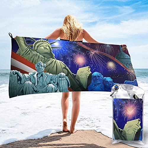 Día de la Independencia de los Estados Unidos Mapa de Wolrd Toalla de Playa Ultra Suave 27.5 'X 55' Portátil Absorbente de Agua Microfibra múltiple Toalla de Playa sin Arena Manta para Viajes Piscina