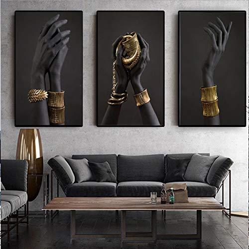 ZMFBHFBH Pinturas en Lienzo Mano de Mujer Negra con Carteles de Joyas de Oro e Impresiones Imágenes de Arte de África para la Sala de Estar DEC 40x60cmx3pcs con Marco