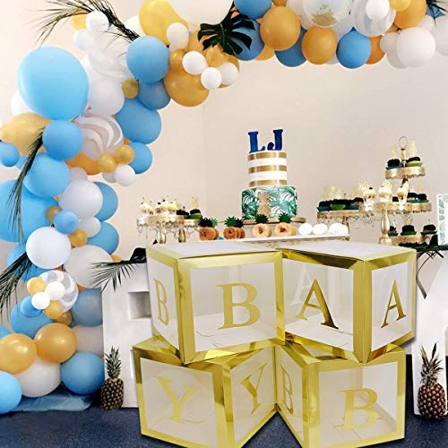 JW Passion Gold Baby Shower Decorations Large Balloon Box Blocks Decoration for Baby Shower 1st Birthday Party Theme Backdrop
