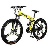 Hyhome Bicicletas de montaña plegables para adultos, 26 pulgadas, 3 radios ruedas 27 velocidades, bicicleta de montaña...