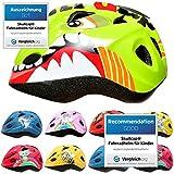 SkullCap® Casco Niño Bicicleta diseñado por los niños, Casco Bici Carretera Chico y Chica, Casco Bicicleta montaña, Dinosaurio, Animal, Dino
