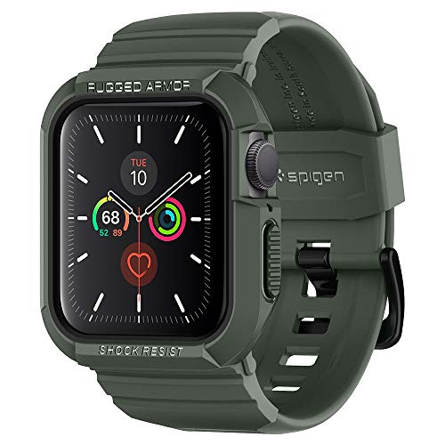 Spigen Rugged Armor PRO Compatibile con Apple Watch Custodia con Cinturino per 40mm Series 6/SE/5/4 - Verde Militare