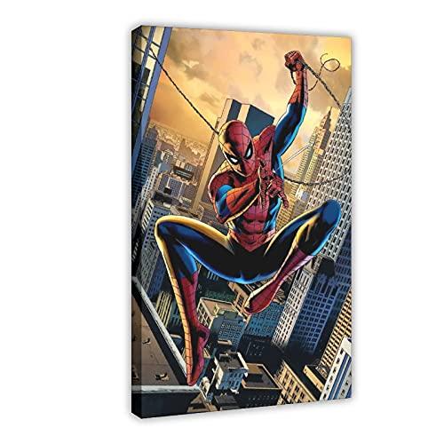 Póster de Superhéroe Spider Man Tom Holland de la película 01 póster de lona para decoración de dormitorio, paisaje, oficina, habitación, marco de regalo, 40 x 60 cm