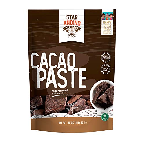 Star Andino Heritage Cacao Paste - 1 Pound Bag - Pure Peruvian Ground High Grade Cacao Beans - 100% Natural Unsweetened Chocolate Paste - Great for Keto Diets