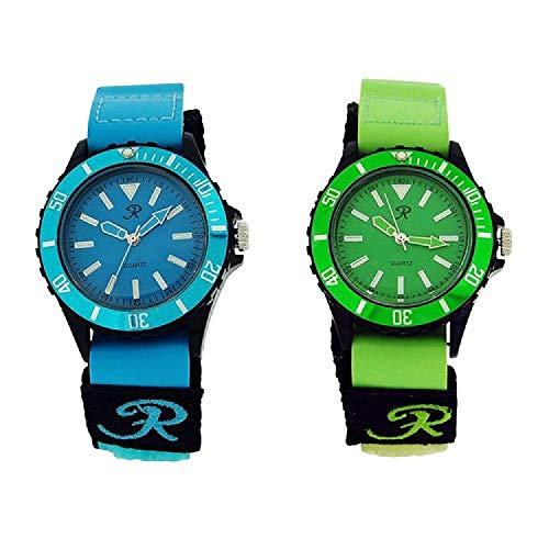 Reflex analoge Quarzuhr blaues & grünes Klettarmband - Herrenuhren 2er Uhrenset