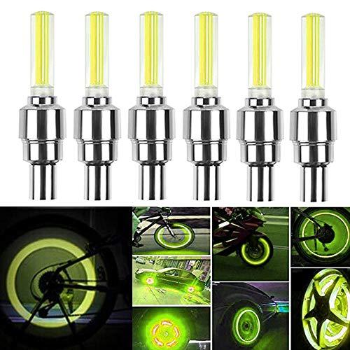 HSIQIAN LED Impermeable Flash Rueda Luz Llanta Rueda Válvula Tapa Luz Luz de Seguridad para Coche, Bicicleta, Bicicleta, Motocicleta 8 Piezas (Amarillo)