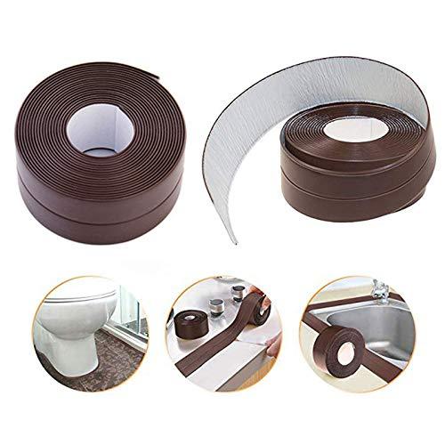 2 Pack Caulk Strip Sealing Strip PE Self Adhesive Waterproof Tape for Bathtub Bathroom Shower Toilet Kitchen and Wall Sealing 11 Ft Length (38 mm, Brown)