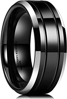 King Will Classic Men 8mm Black Tungsten Carbide Rings Polished Beveled Edge Double Groove Wedding Bands