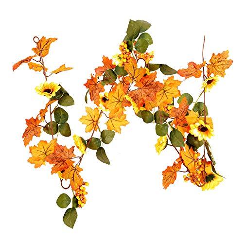 Bayda Guirnalda de hojas de arce Vine Otoño Dejar Otoño Plantas de vid colgantes para mesa de boda Acción