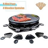 Griglia Elettrica Raclette Grill per 8 Persone Piastra per Cucinare Teppanyaki Grill da Tavolo Elettrico con 8 Mini Padelle di Cottura e 4 Spatole in Legno Griglie Elettriche 1300W