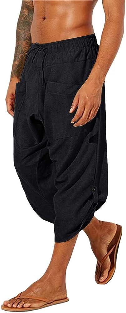 Gafeng Fort Worth Mall Mens Yoga Capri Pants Casual Drawstri Baggy Elastic Waist Choice