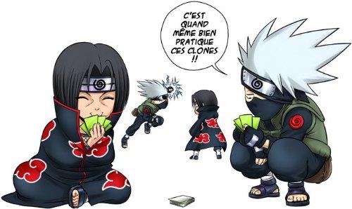 T-Shirt Noir Naruto parodique Kakashi et Itachi : Combat de Ninjas ! (Parodie Naruto)