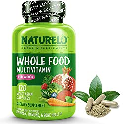 NATURELO Whole Food Multivitamin for Women - with Vitamins, Minerals, & Organic Extracts - Supplement for Energy and Heart Health - Vegan - Non GMO - 120 Capsules