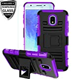 Galaxy J3 Star Case w/Tempered Glass Screen Protector,Galaxy J3V J3 V 3rd Gen Case,Galaxy J3 Orbit Phone Case,Galaxy J3 2018 Case,Kickstand Heavy Duty ShockproofBumper Protective Cover Skin,Purple