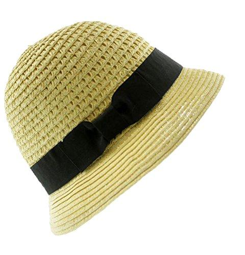 August Hat Womens Paper Hat (OS, Beige Black)